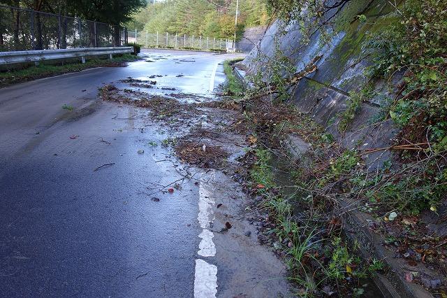 木屑が側溝を埋めてふさぎ 雨水が道路に流れ出ました 左側は富永ダムになっています